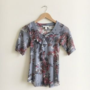 Anthropologie Weston Wear Grey Floral Ruffle Top